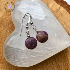 Lepidolite Coin Silver Earrings